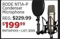 Sam Ash Black Friday: RODE NT1A-P Condenser Microphone for $199.99