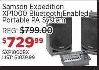 Sam Ash Black Friday: Samson Expedition XP1000 Bluetooth Enabled Portable PA System for $729.99