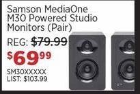 Sam Ash Black Friday: Samson MediaOne M30 Powered Studio Monitors (Pair) for $69.99