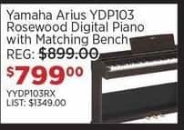 Sam Ash Black Friday: Yamaha Arius YDP103 Rosewood Digital Piano w/ Matching Bench for $799.00