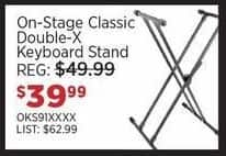 Sam Ash Black Friday: On-Stage Classic Double-X Keyboard Stand for $39.99