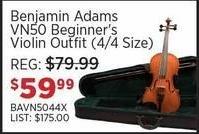 Sam Ash Black Friday: Benjamin Adams VN50 Beginner's Violin Outfit (4/4 Size) for $59.99