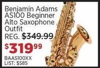 Sam Ash Black Friday: Benjamin Adams AS100 Beginner Alto Saxophone Outfit for $319.99