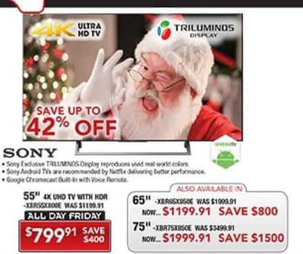 """PC Richard & Son Black Friday: 65"""" Sony XBR65X750D 4K Ultra HD Android TV for $1,199.91"""