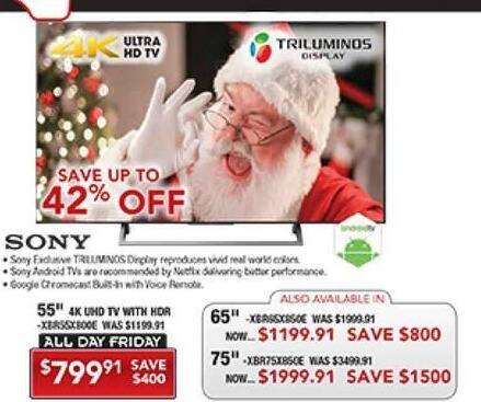"PC Richard & Son Black Friday: 55"" Sony XBR55X800E  4K Ultra HD Android TV for $799.91"