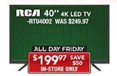 """PC Richard & Son Black Friday: 40""""RCA RTU4002 4K LED TV for $199.97"""
