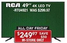 """PC Richard & Son Black Friday: 49"""" RCA RTU4921 4K LED TV for $249.97"""