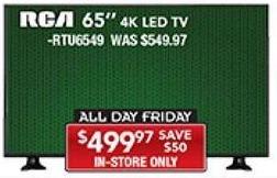 """PC Richard & Son Black Friday: 65"""" RCA RTU6549 4K LED TV for $499.97"""