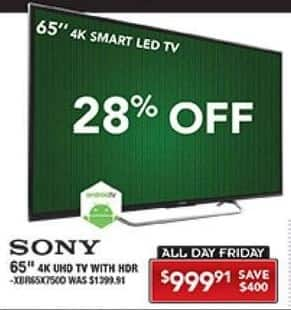 "PC Richard & Son Black Friday: 65"" Sony XBR65X7500 4K UHD TV w/ HDR for $999.81"