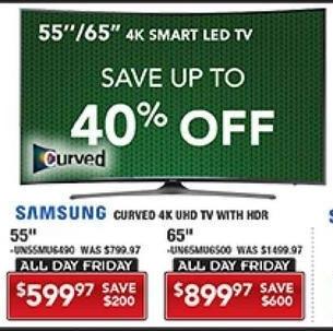 "PC Richard & Son Black Friday: 65"" Samsung Curved 4K Smart LED UHD TV w/ HDR for $899.97"