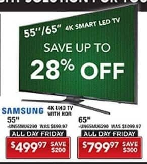 "PC Richard & Son Black Friday: 55"" Samsung UN55MU6290  4K Smart LED UHD TV w/ HDR for $499.97"