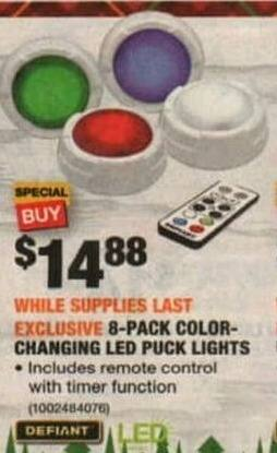 Home Depot Black Friday Defiant 8 Pack Color Changing Led Puck Lights For 14 88