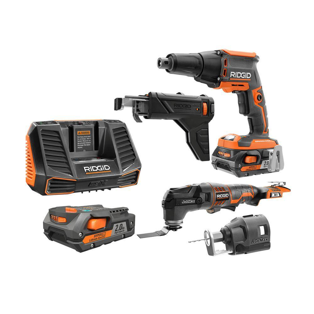 RIDGID 18-Volt Jobmax Multitool, Drywall Screwdriver, Rotary Cutter Attachment and 2 2Ah Batteries Kit - $199 + Free Shipping