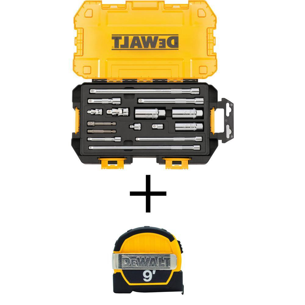 """Home Depot - Dewalt 15pc 1/4"""" & 3/8"""" Drive Tool Accessory Set with Case & Pocket Tape Measure $24.97 with FS"""
