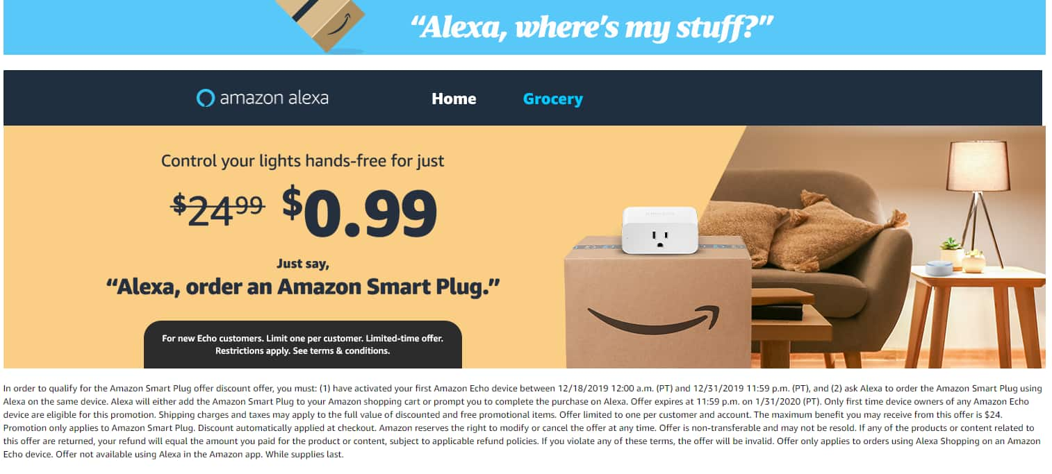 Amazon Smart Plug - $0.99 for new Echo Device Customers