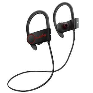 LoHi Bluetooth V4.1 Wireless Sports Earphones Sweatproof In-ear Headset with Microphone Noise-Cancelling for iPhone iPad bla bla etc $16 on amazon