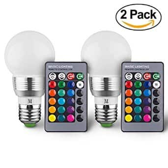 Massimo Retro 16 Color Changing LED RGB Bulb with Remote Control (2 Pack) $11 AC via amazon