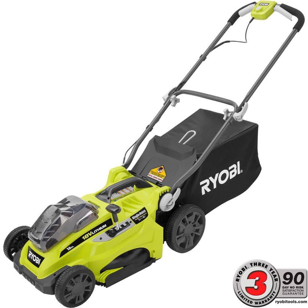 Ryobi 16 in. Battery Push Lawn Mower with Two 4.0 Ah Batteries at Home Depot $199