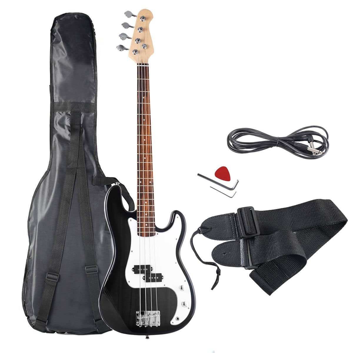 Goplus Electric Bass Guitar Full Size 4 String with Strap Guitar Bag Amp Cord (Black) $69