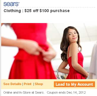 Sears SYWR members $25 off $100 clothing + $60 in bonus points