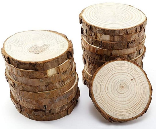 Wood SLices WIth Bark for Craft 3.5-4 inch 15 Pack $11.04 $11.4