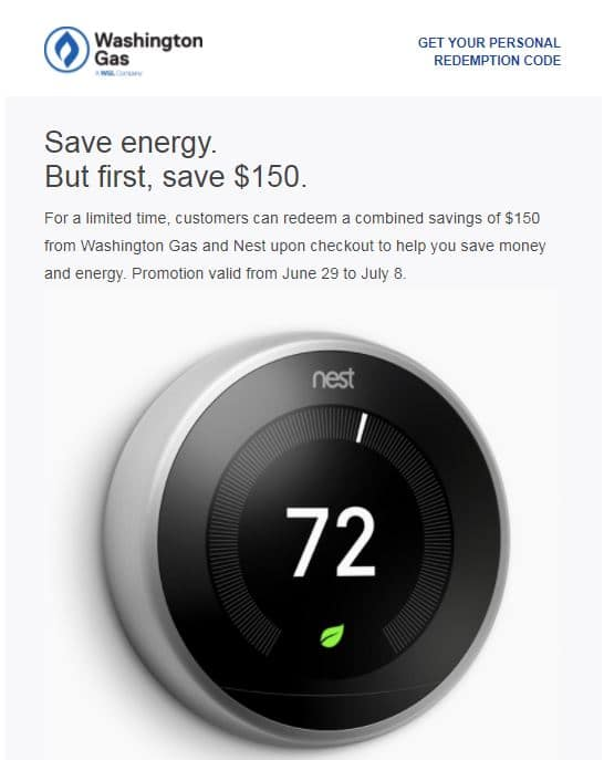 Nest Thermostat (3rd Gen) - For Washington Gas Customers - After $100 Rebate - $99