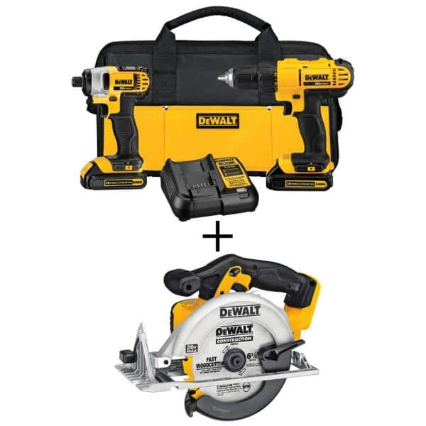 Dewalt 20-Volt MAX Lithium-Ion Cordless Drill/Driver Combo Kit (3-Tool) w/ Circular Saw, (2) 1.3ah 20-Volt Batteries, Charger and bag + Free Delivery $199