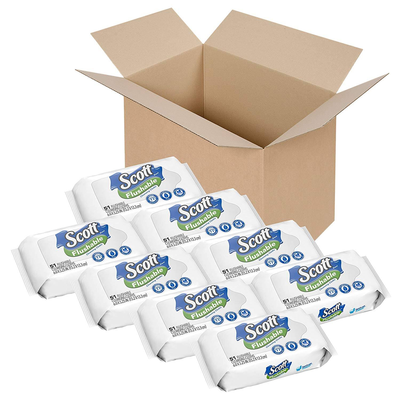 Scott Flushable Wipes, Fragrance-Free, 8 Soft Packs of 51 Wipes Amazon S&S $12.92