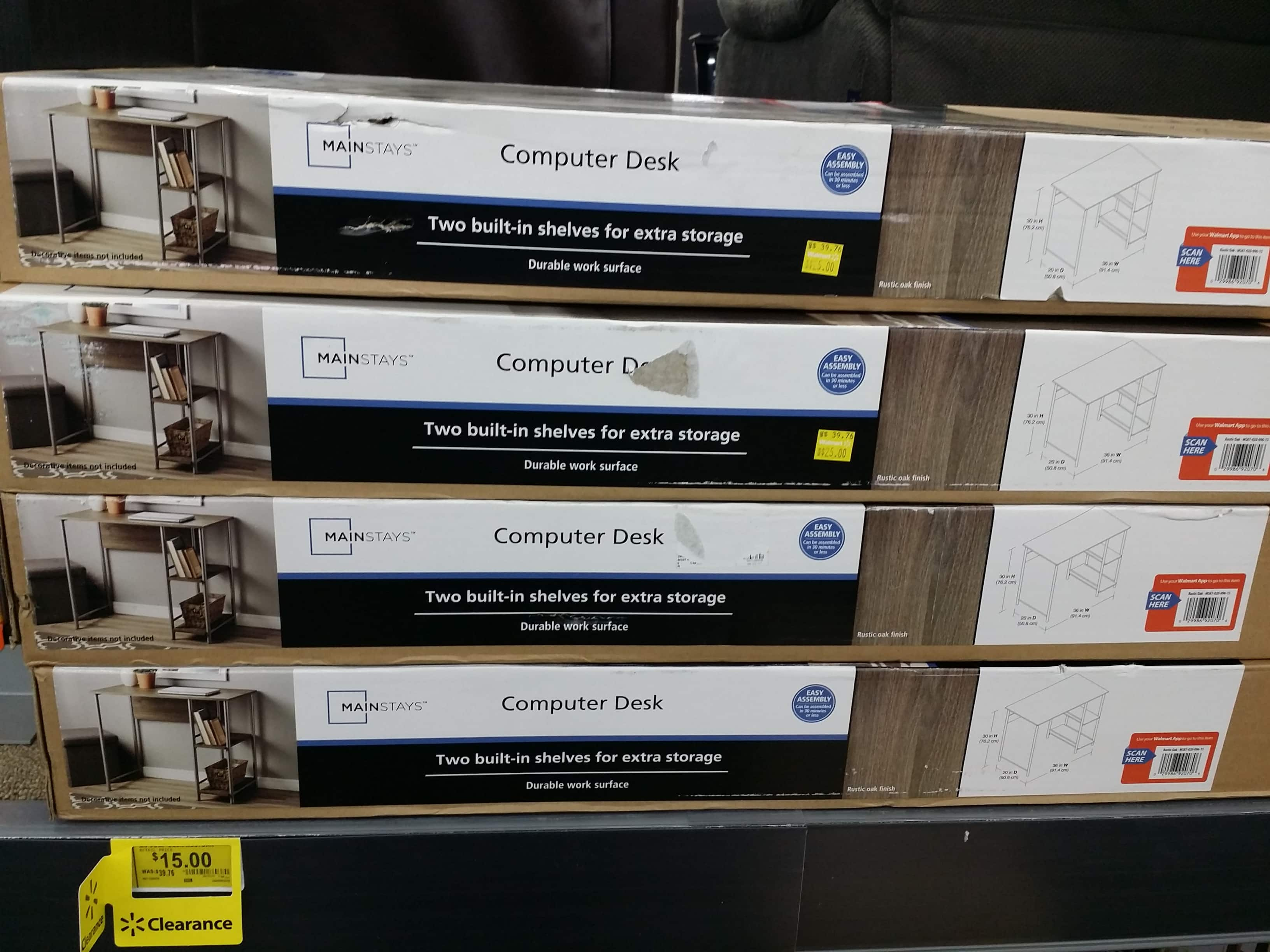 Mainstays Garrett Metal Student Desk  (Rustic oak)-  on clearance at 15 $ - In Store YMMV (Reg price 45.98 $) $15