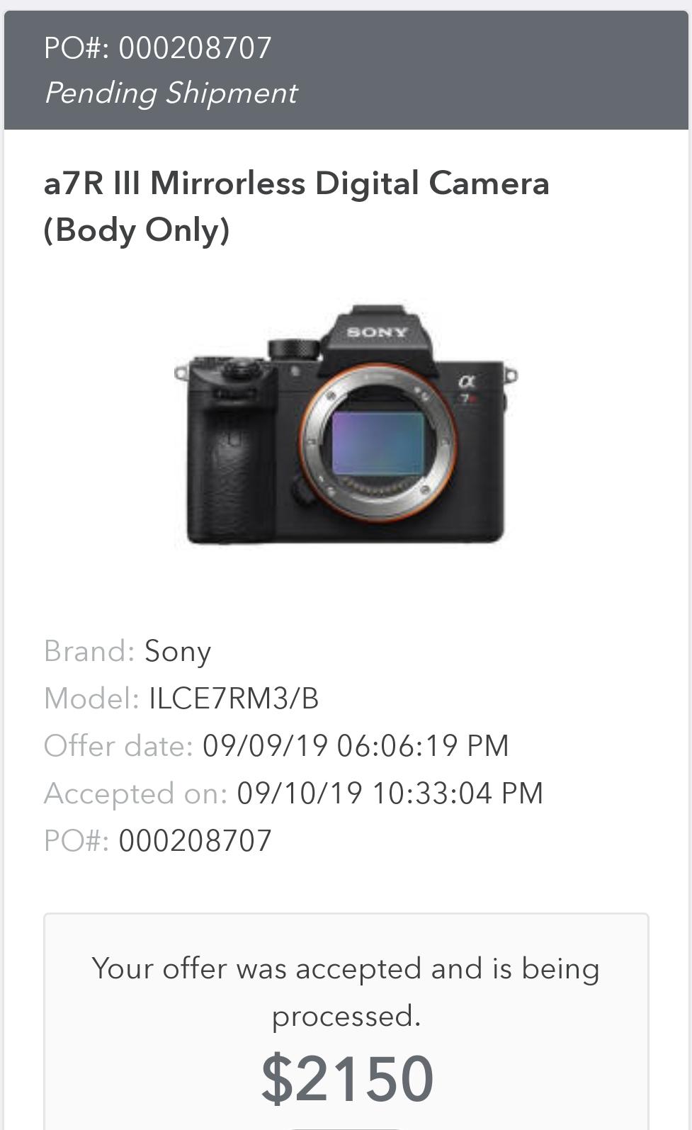 Sony A7Riii $2150