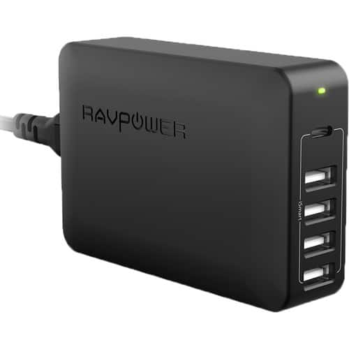 RAVPower 60W 5-Port USB Type-A Wall Charger w/ USB Type-C PD