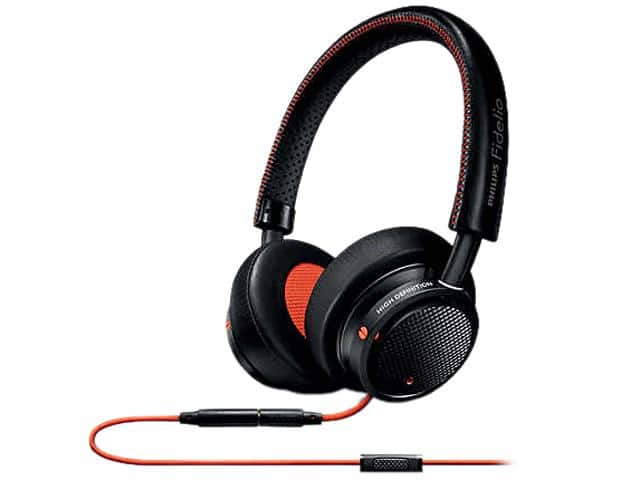 Philips - Fidelio M1 On-Ear Headphones - Black with orange details $39