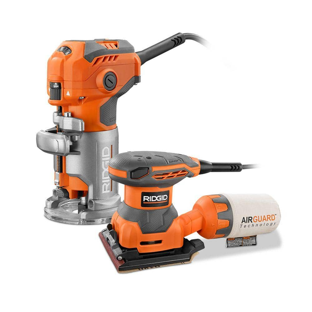 RIDGID 5.5 Amp Trim Router with Free 1/4 Sheet Sander - $99 w/ Free shipping or in-store pickup