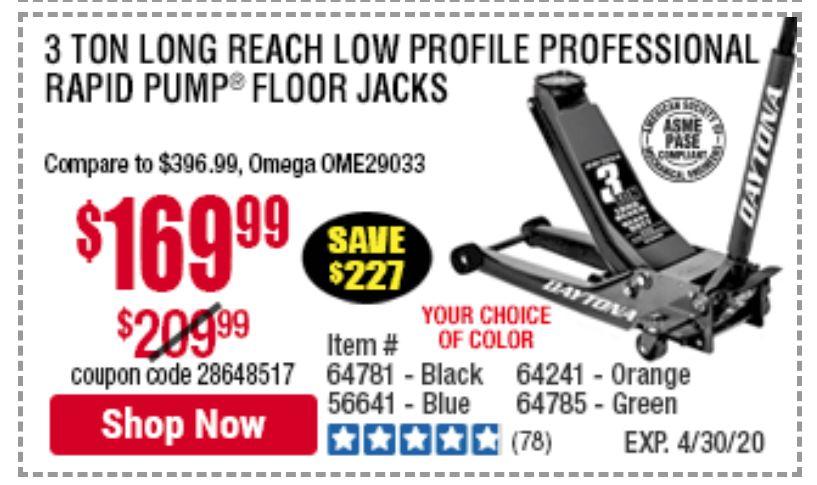 DAYTONA 3 Ton Long Reach Low Profile Professional Rapid Pump® Floor Jack - Black $169.99