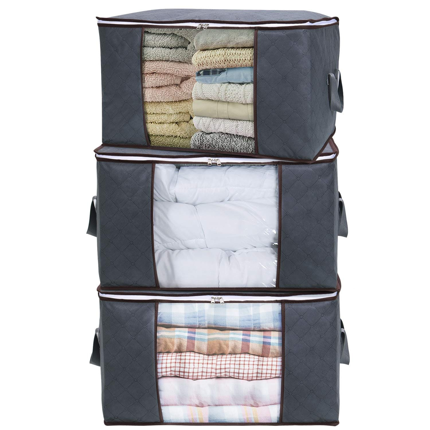 3 Pack 90L Grey Clothes Storage Bag for Comforters, Blankets, Bedding for $16.24 +FS w/Prime