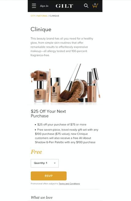 Free Clinique Coupon Voucher for $25 off $75 from Gilt City - RSVP for Voucher