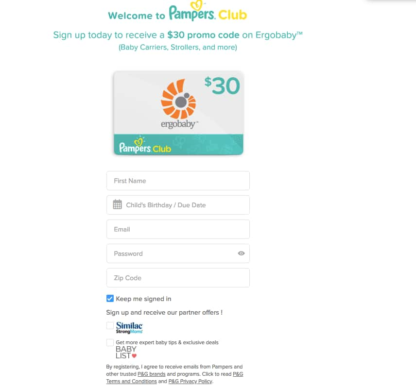 Ergobaby Promo Code $30 OFF $60 ~ When you Sign up for Pampers Club