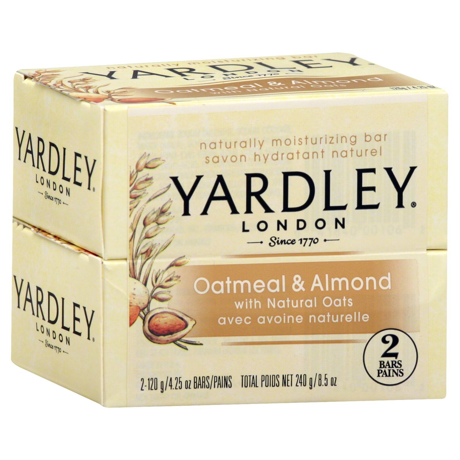 2 Pack Yardley London Oatmeal and Almond Bath Soap 4.25 oz Bar $1.80 w/ Prime Shipping