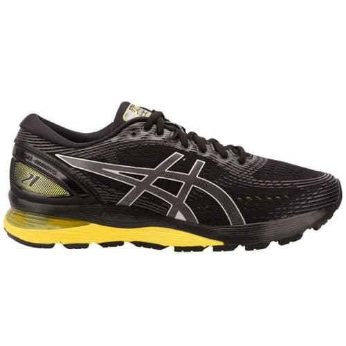 low priced 36ece 86c66 ASICS GEL-Nimbus 21 running shoe (mens, black/lemon spark ...