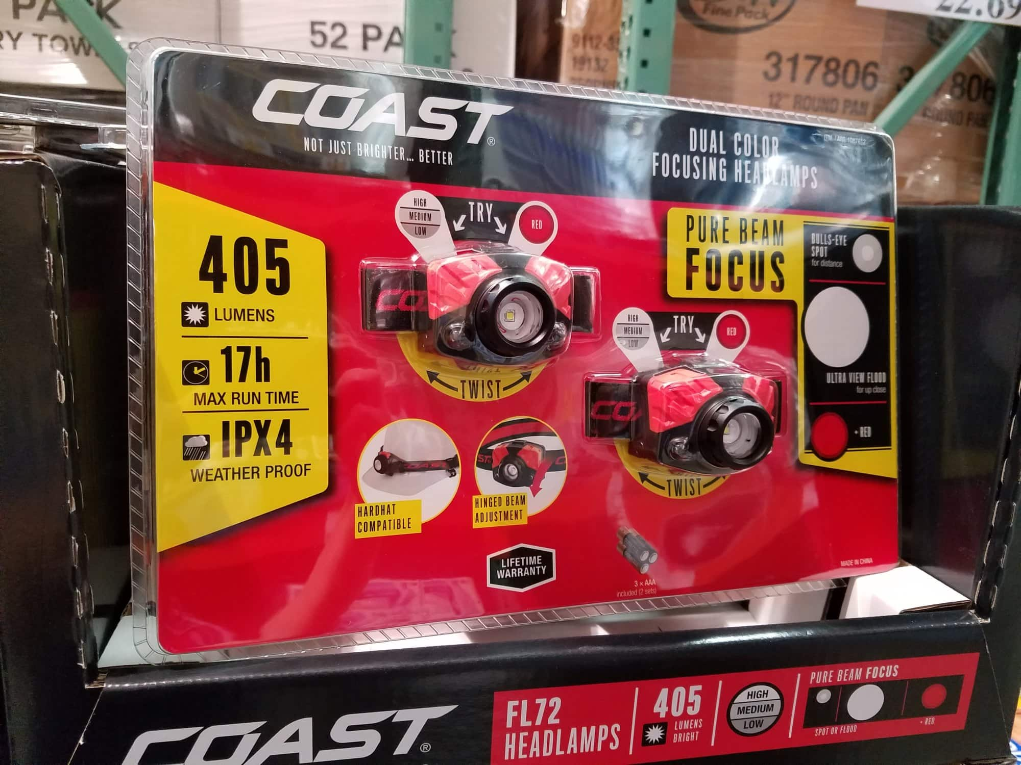 Costco B&M - Coast Headlamp - 405 lm Dual Color Focusing LED - 2 pack for $29