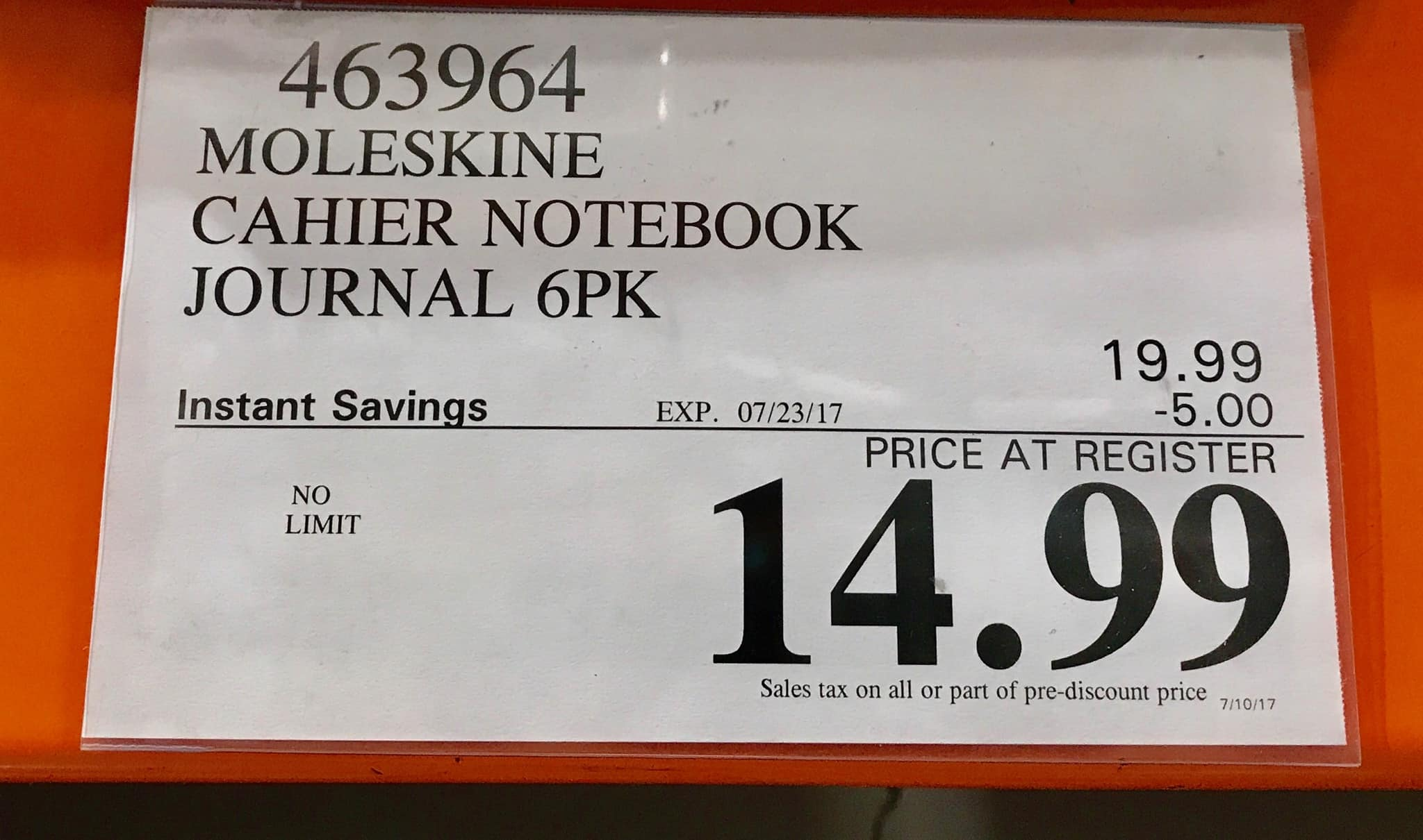 Moleskine Cahier 6-pack Journals - Extra Large Notebooks $15 Costco YMMV