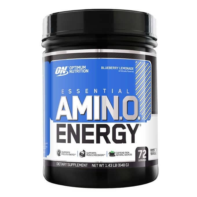 Optimum Nutrition Essential AMIN.O. ENERGY, 1.43 lbs 72 servings $27.99, save $9 per can from Costco