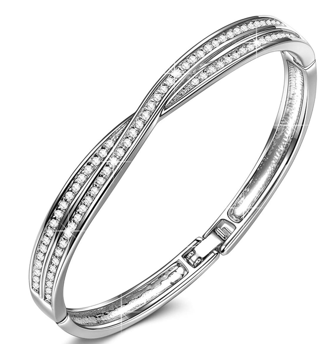 """7"""" Bangle Bracelet (Made w/ Crystals from Swarovski) $11.96-$12.88 @ Amazon + FS"""