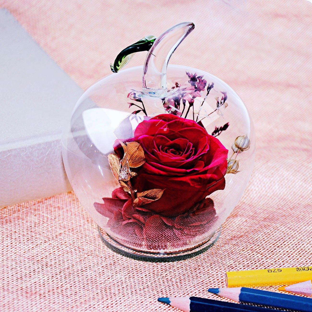 Glass Apple-Shaped Decor w/ Rose Flower $19.49 @ Amazon + FS