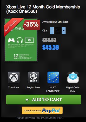 Xbox Live Gold Membership 12 months $45.39