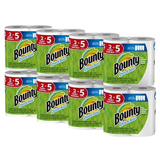 Bounty Quick-Size Paper Towels, 16 Family Rolls, White -$25.14
