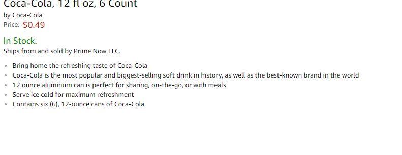 Amazon Prime NOW Coca-Cola, 12 fl oz, 6 Count $0.49