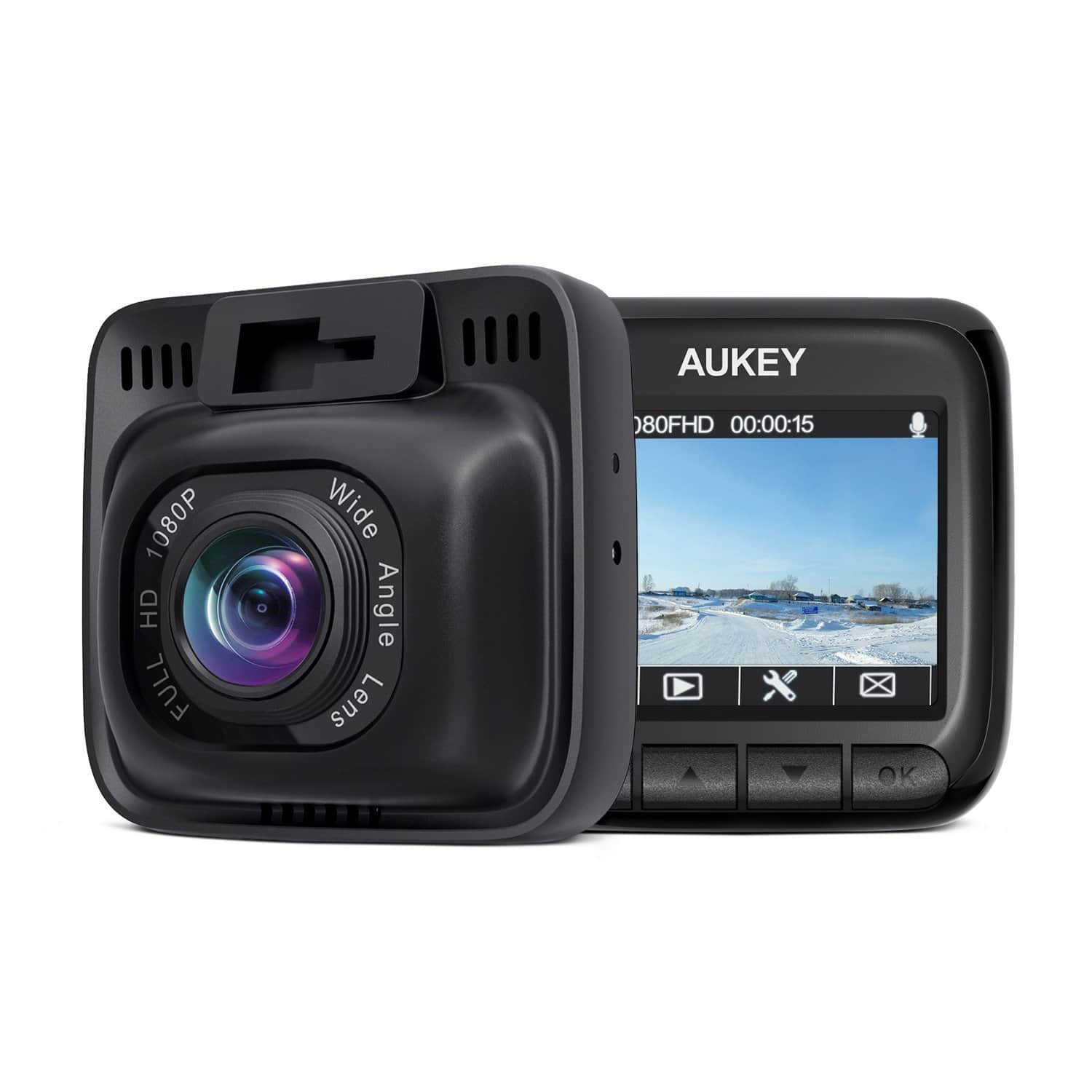 """Amazon Lightning Deal  $43.49 AUKEY Dash Cam, Dashboard Camera Recorder with Full HD 1080P, 6-Lane 170° Wide Angle Lens, 2"""" LCD and Night Vision"""