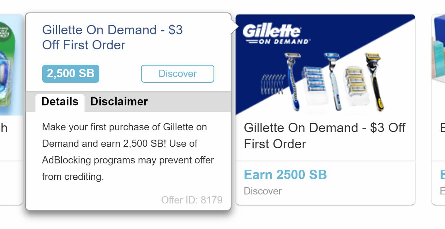 Swagbucks - First purchase at Gillette on Demand gives you $25 in points - $18 MM $7