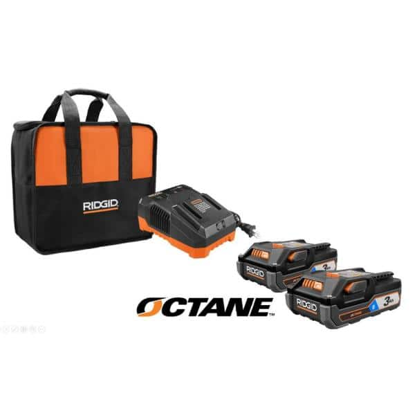 RIDGID 18-Volt OCTANE Bluetooth 3.0 Ah Batteries (2-Pack) and Charger Kit with Tool Bag $149